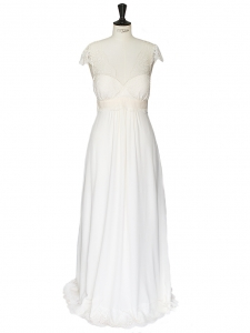 RUIZ ecru white fine lace and silk wedding dress Retail price 2850€ Size 38