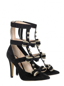 Black suede bow embellished crystal-edged cutout pumps Fall 2009 Worth 1050€ Size 36