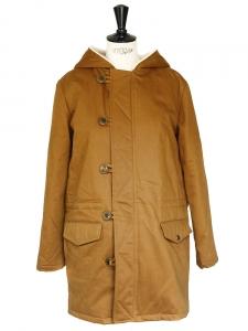 Parka en coton marron tabac doublée mouton Px boutique $660 Taille 36