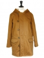 Brown green shearling hooded parka Retail price $660 Size 36
