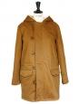 Parka en coton marron tabac à capuche en mouton Px boutique $660 NEUVE Taille 36