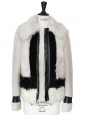 CELINE Beige and white shearling jacket with black leather trimming Retail price €3500 Size 38