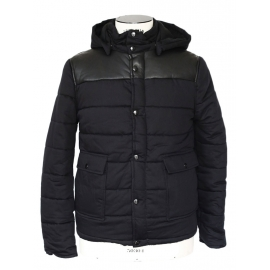 """""""Old school"""" Mens' black leather and cotton hooded down jacket Retail price 450€ Size S"""
