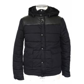 Veste doudoune Homme Old School à capuche en coton et cuir noir NEUVE Px boutique 450€ Taille XS/S