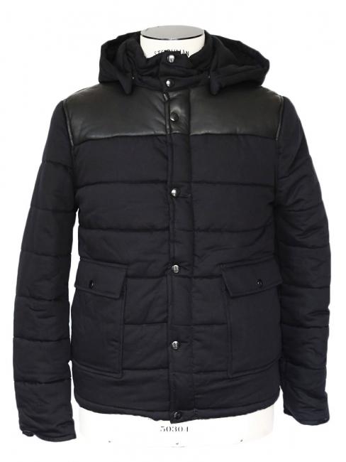 ... Taille XS S. Veste doudoune Homme Old School à capuche en coton et cuir  noir NEUVE Px boutique 450 23f2e78192c