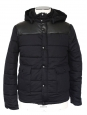 """Old school"" Mens' black leather and cotton hooded down jacket Retail price 450€ Size S"