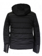 """""""Old school"""" black leather and cotton hooded dawn jacket Retail price 450€ Size S"""