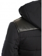 """Old school"" black leather and cotton hooded dawn jacket Retail price 450€ Size S"