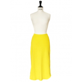 Bright yellow cotton mid-length skirt Size 34