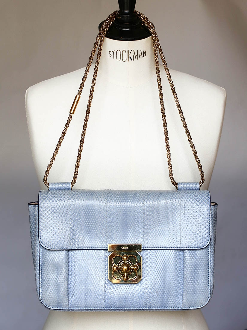 Louise Paris - CHLOE Light blue ayers leather Elsie bag with gold ...