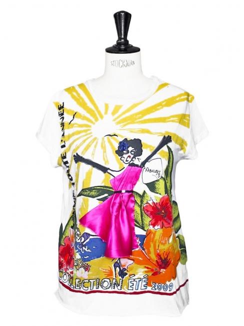 T-shirt FABULOUS manches courtes en coton blanc brodé et soie fuchsia Px boutique 790€ Taille S