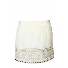 Ecru silk skirt with gold embroideries Retail price 450€ Size 40