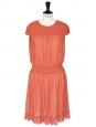 Light coral silk crepe smock dress SS12 Retail price €1800 Size 38