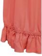Robe à smocks en crêpe de soie corail pêche SS12 Px boutique 1800€ Taille 38