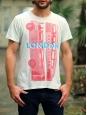 "Light water green ""London"" printed men's t-shirt Size M"