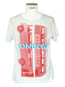 "Light water green ""London"" printed men's t-shirt Size M"
