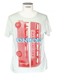 T-shirt en coton vert d'eau imprimé Taille M