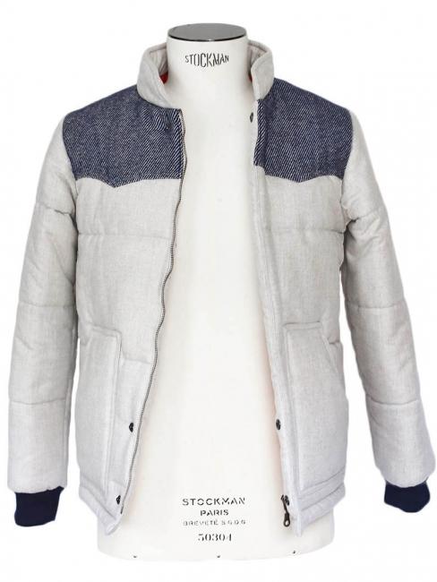 Blouson doudoune en laine écru et bleu jean Px boutique 250€ Taille XS