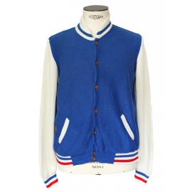 Blue white and red fine cotton jersey varsity jacket Retail Price 250€ Size L