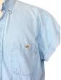 Chemise manches courtes en jean bleu clair Taille XL