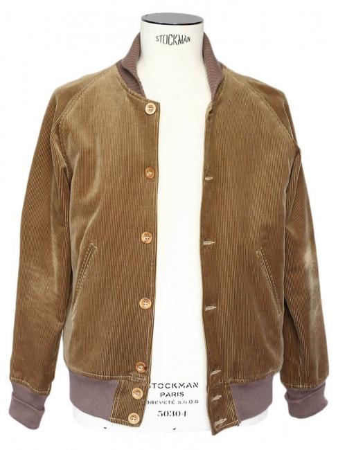 Blouson veste en velours côtelé marron kaki doublé fourrure Taille M