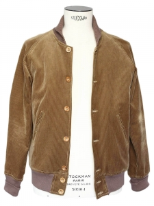 Brown corduroy and ecru faux fur men's teddy Jacket Size M