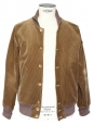 Light kaki brown corduroy and ecru faux fur men's teddy Jacket Size M