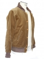 Blouson veste en velours côtelé marron caramel doublé fourrure