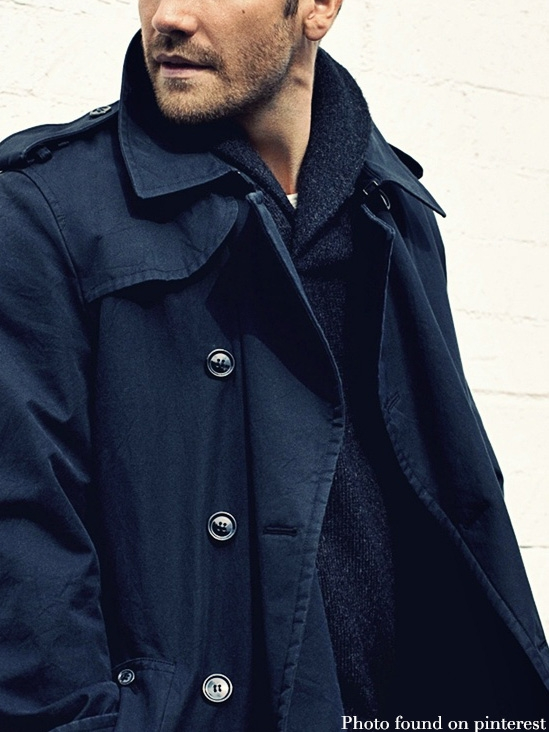 Stylish long length men's trench coats and waterproof cotton macs in navy, black and beige are ideal for keeping the weather at bay.