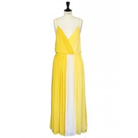Robe longue décolleté en mousseline de soie jaune vif et blanc Px boutique $500 Taille M