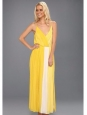 Robe longues décolleté plongeant en mousseline de soie jaune vif et blanc Px boutique $500 Taille M