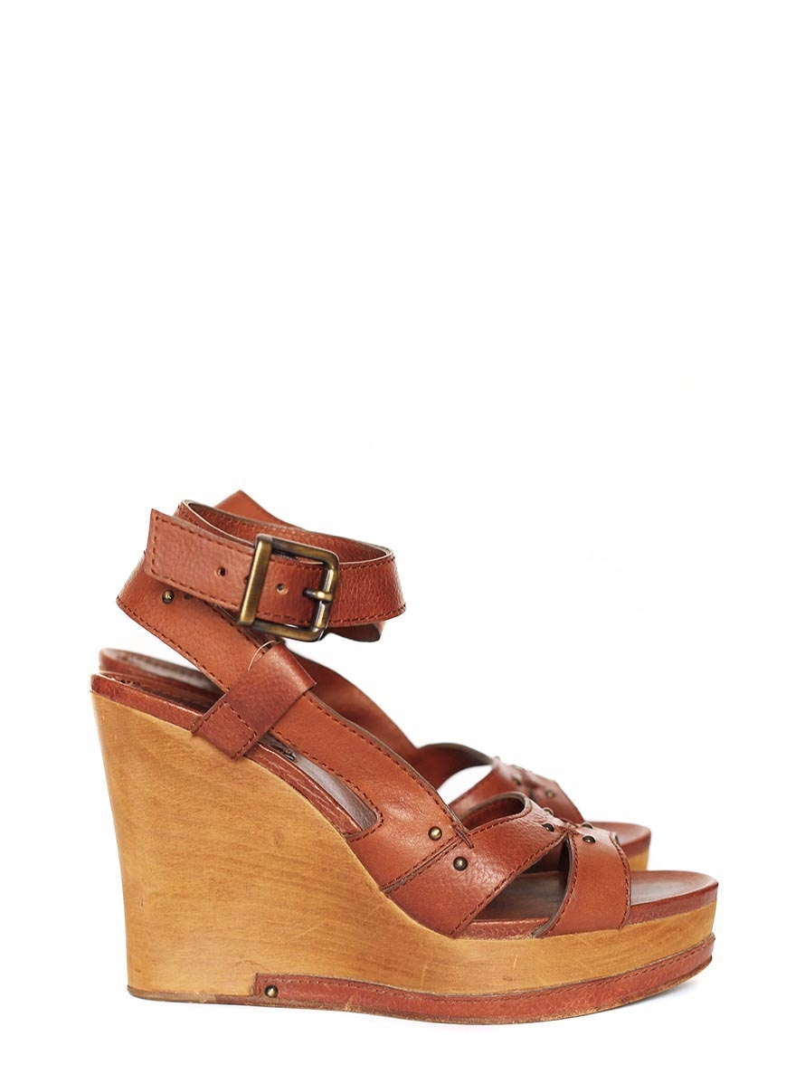 Louise Paris Chloe Camel Brown Leather Wedge Wooden Heel
