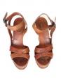 Sandales compensées en cuir camel talon bois Px boutique 550€ Taille 39