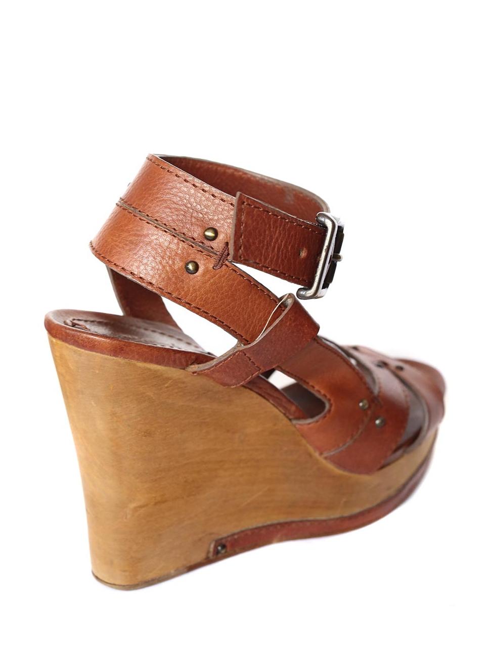 40c6ee41842271 Louise Paris - CHLOE Camel brown leather wedge wooden heel sandals Retail  price 550€ Size 39