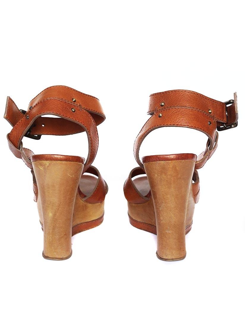 Louise Paris Chloe Camel Brown Leather Wedge Wooden Heel