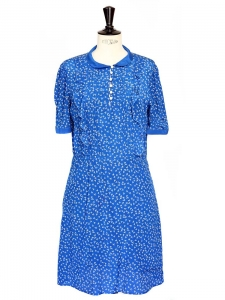 Light short sleeves blue dress printed with little white flowers Size 36/38