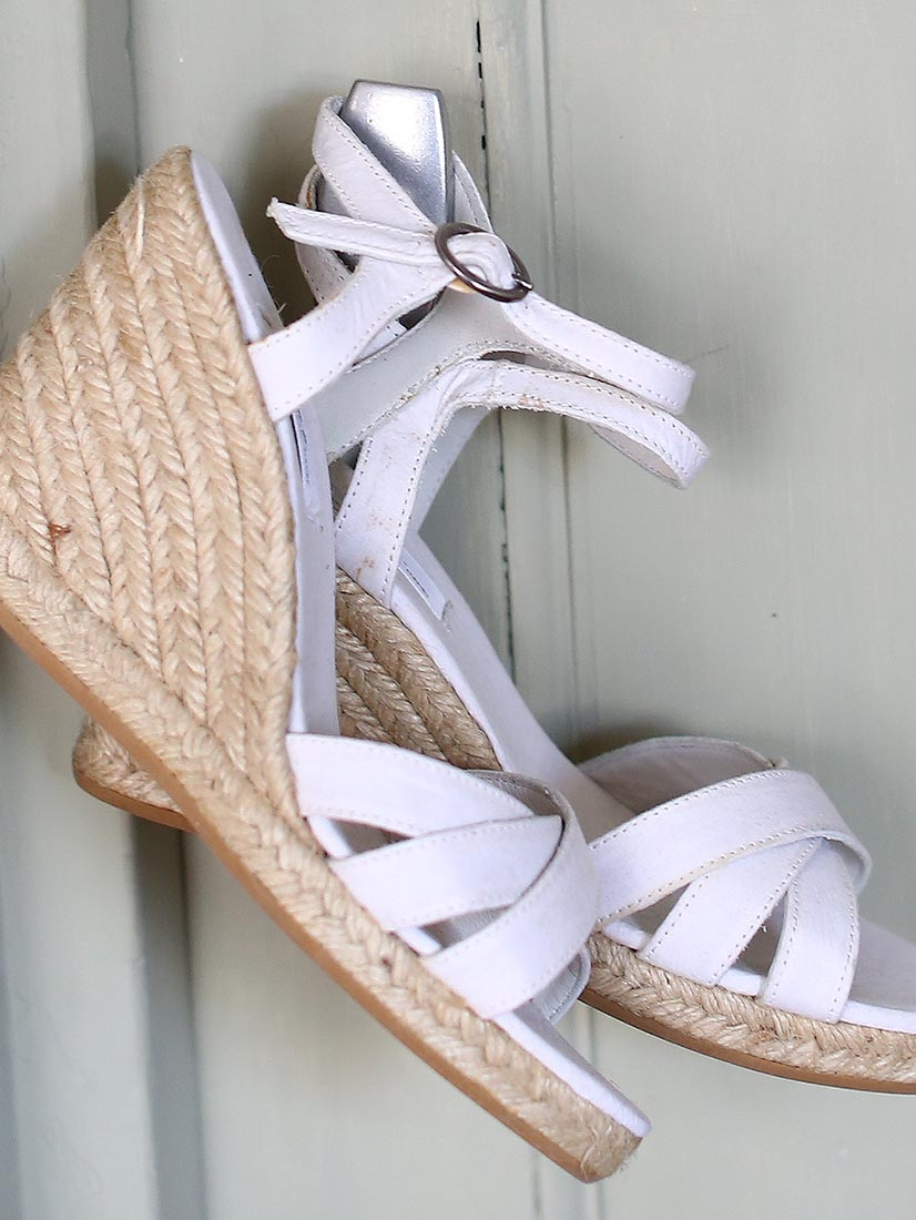 louise paris apc sandales espadrilles compens es blanches neuves taille 36. Black Bedroom Furniture Sets. Home Design Ideas
