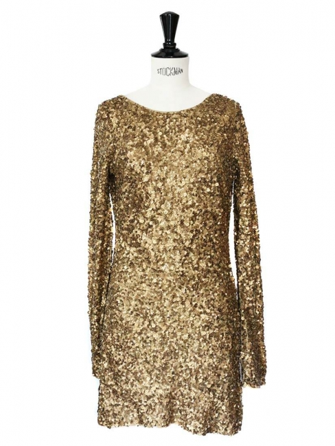 Wallace open back dress embroidered with gold sequins Retail price €475 Size 36/38