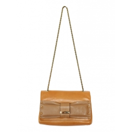 June bow-embellished fawn brown and nutmeg leather shoulder bag / clutch Retail price 550€