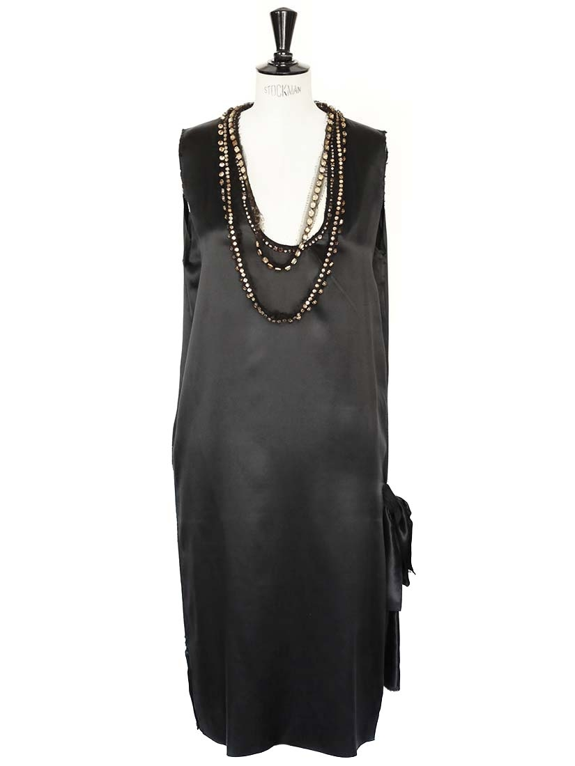 6d861210b3d8 Black silk satin dress with crystal necklaces Retail price 3000€ Size 38/40