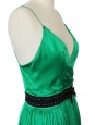 Robe de soirée en satin de soie vert émeraude ceinture cristal Px boutique 2000€ Taille 38