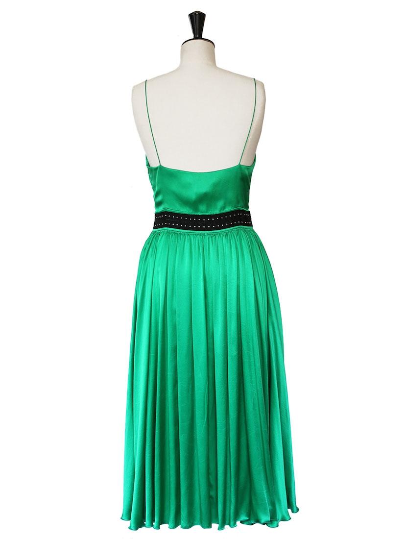 Louise Paris Chloe Emerald Green Silk Satin Mid Length