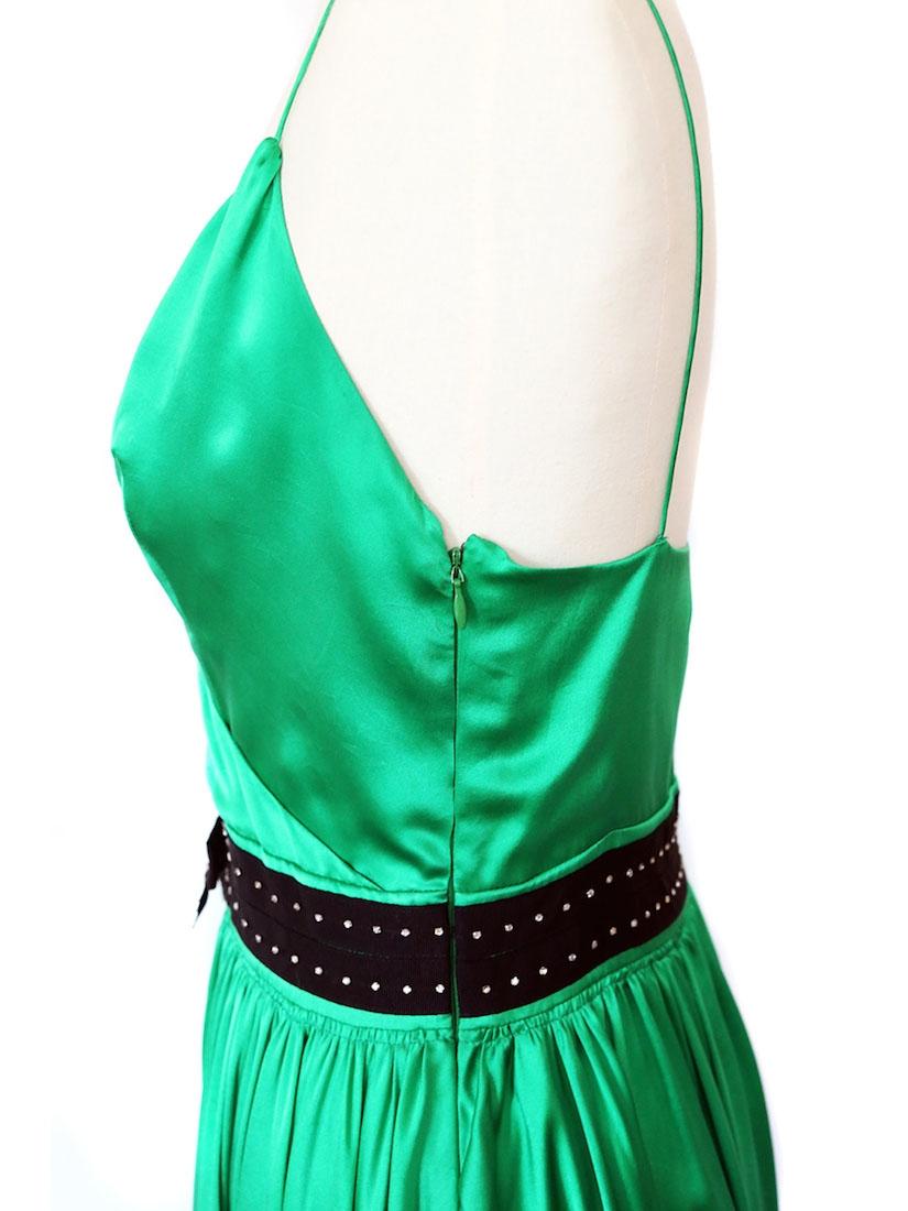 louise paris chloe emerald green silk satin midlength