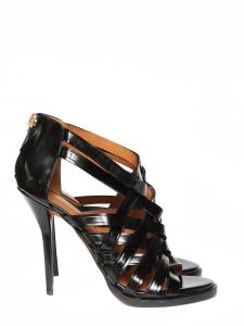 Sandales à talon et lanières tressées en cuir glacé noir Px boutique 850€ Taille 39