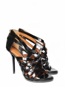 Black glazed leather high heel sandals Retail price 850€ Size 39