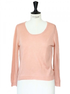 Light pink cashmere and silk open back sweater Retail price around €350 Size 38
