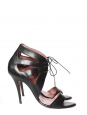 Black leather high heels sandals Size 40