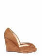 Nutmeg brown suede wedge peep-toe sandals Size 42