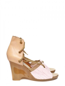 Beige leather and pink stripped cotton wedge sandals Size 39