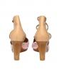 Sandales compensées en cuir beige et tissu rayé rose Taille 39